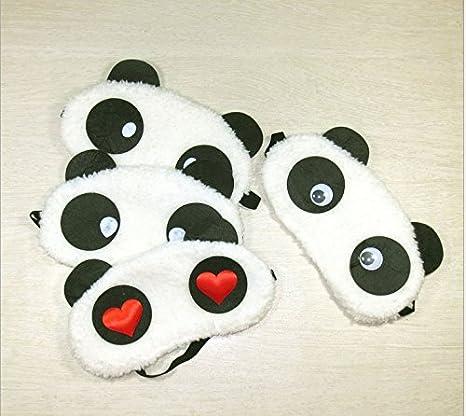 fablcrew máscara de ojos Negro Color Blanco Diseño de oso panda viaje descanso, sombra cubierta dormir máscara: Amazon.es: Hogar