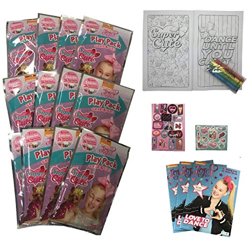 Set of 12 Jojo Siwa Grab n Go Play Pack + 3 Nickelodeon Jojo Coloring Book Play Fun Party Favors Girls Birthday Crayons Stickers