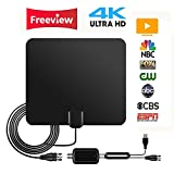 2018 UPGRADED TV Antenna - Digital Amplified HDTV Antenna 50-70 Miles Range 4K HD VHF UHF Freeview Television Local Channels with Detachable Signal Amplifier and 16ft High Performance Coaxial Cable