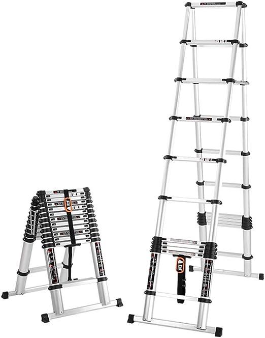 Escalera Telescópica, Escalera telescópica con Marco en A - Escalera telescópica Plegable portátil de Aluminio de usos múltiples con Barra de Soporte, sugiere 330 Libras (Size : 13.12ft/4m=2m+2m): Amazon.es: Hogar