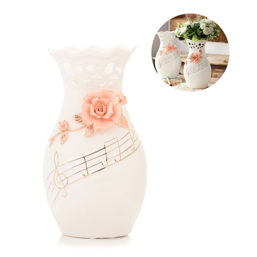 225 & Large White Ceramic Flower Vases10.6\u0027\u0027 Oval Tall Decorative Vases with Handmade Porcelain Pink Flowers for Living Room Kitchen Table Home Office ...