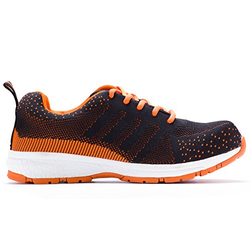 JACKBAGGIO Herren Athletic Flyknit Leichte Stahlkappe Walking Safety Sneakers 8828 Orange