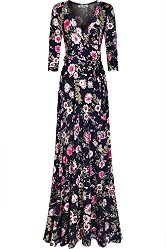 Bon Rosy Women's Silky and Stretchy Fabric 3/4 Sleeve Deep V-Neck Floral Printed Maxi Faux Wrap Dress Navy Pink M(DJ51504-DOO)
