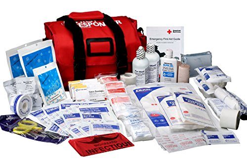 First Aid Only First Responder Bag with Emergency First Aid Kit, 158-Pieces, Large Red Bag