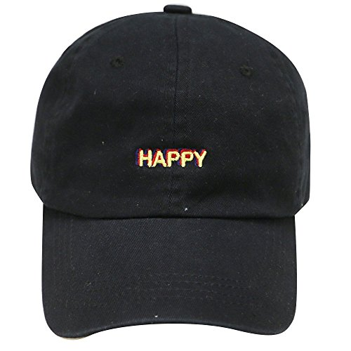 City Hunter C104 Happy Small Embroidered Cotton Baseball Caps 12 Colors (Black)