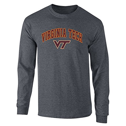 Elite Fan Shop NCAA Men's Virginia Tech Hokies Long Sleeve Shirt Dark Heather Arch Virginia Tech Hokies Dark Heather X Large