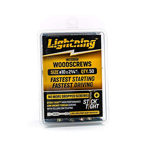 Wood Screw - Lightning Interior Stick-Tight Wood Screw #10 x 2-3/4