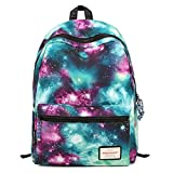 Leewin Unisex Galaxy Printed Casual Canvas Backpack School Laptop Book Bag (Black, One size)