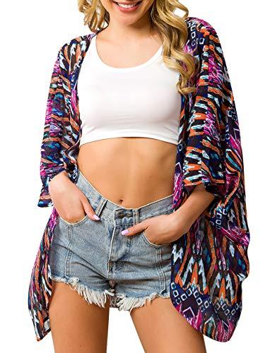 Traleubie Women's Beach Cover Up Floral Print Chiffon Summer Swimwear Kimono Cardigan Color 9 XS