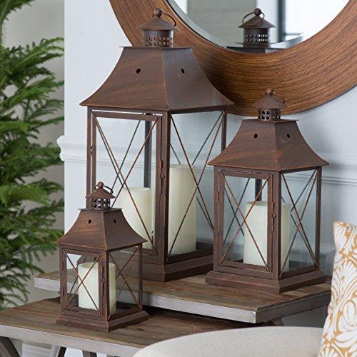 Magnolia Bronze Metal Lanterns, Durable Metal Construction, Sets of -