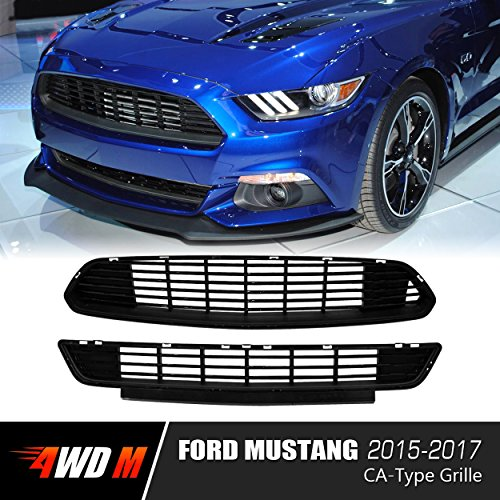 4WDMUSCLE Gloss Black GT/CS CA-Type Special Front Upper Lower Grille for Ford Mustang 2015 2016 2017