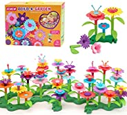 GEMEM Flower Garden Building Toys 148 Pieces Plastic Clay Flowers Kit Stem Toy for Preschool boy and Girl Birt