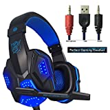 Cheap Hyfanda Gaming Headset Over-Ear Headphones Stereo Bass LED Light Noise Reduction Earphones with Mic for PC Game (Black Blue)