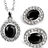 Beydodo Alloy White Gold Plated Women's Round Cubic Zirconia Pendant Nekclace Earrings Stud Jewelry Set