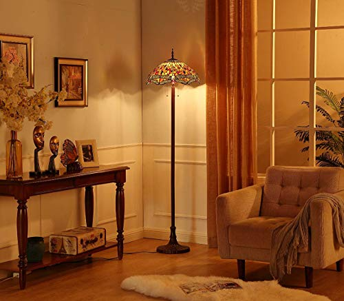 Bieye Dragonfly Tiffany Stained Floor Lamp, Tall