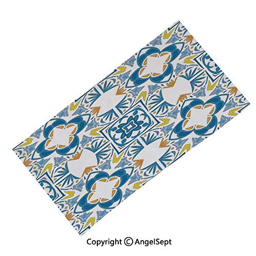 (Seamless Bandanas Face Mask Headband Sports,Classical Vivid Blue Anchors Simplistic Design Marine Hobby Lifestyle Themed Symbols Decorative Blue White,Multifunctional Scarf Headwrap Neck Warmer)