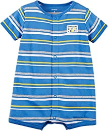 Baby Boys Handsome Little Guy Striped Snap up Cotton Romper