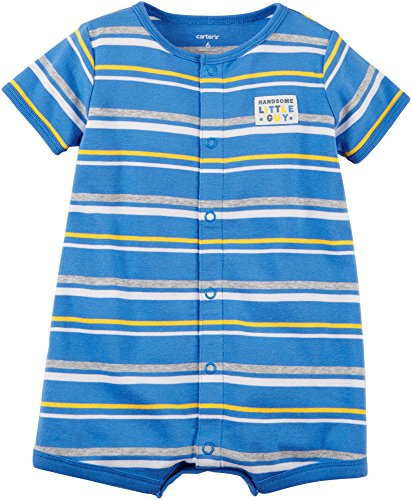 Carter's Baby Boys' Handsome Little Guy Striped Snap up Cotton Romper