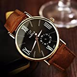 Hemlock Classic Mens Military Noctilucent Watches PU Leather Band Quartz Wrist Watches Brown