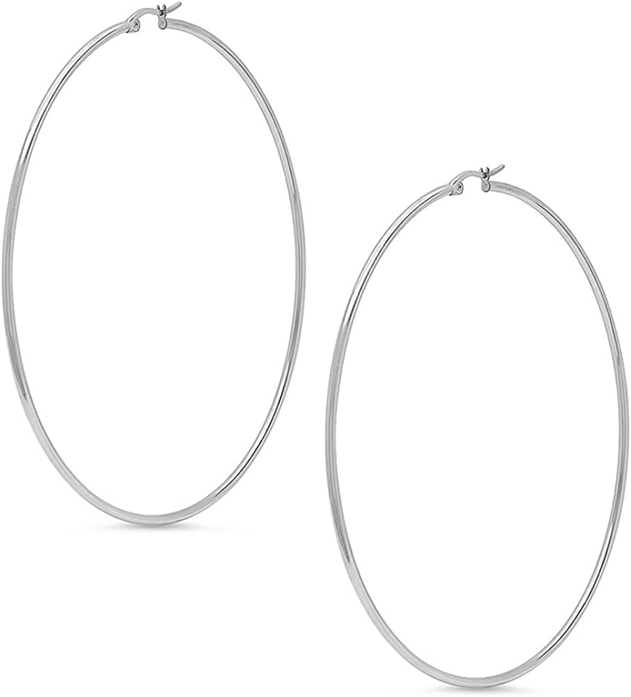 MM Womens Rasta Dangling Hoop String Earrings with Silvertone 3.5 Long