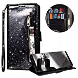 Luxury Glitter Bling Zipper Wallet Phone Case for Samsung Galaxy S8, MOIKY Bookstyle PU Leather Flip Folio Magnetic Purse Pockets Credit Card Holder Wrist Strap Case Cover for Samsung Galaxy S8 - Black