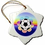 3dRose orn_12416_1 Soccer Ball Flower on Rainbow Snowflake Ornament, 3-Inch