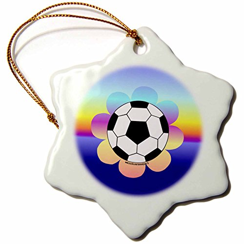 3dRose orn_12416_1 Soccer Ball Flower on Rainbow Snowflake Ornament, 3-Inch by 3dRose