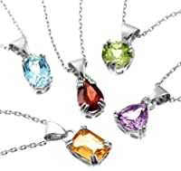 """Sterling Silver Peridot, Garnet, Amethyst, Blue Topaz and Citrine Pendant Necklace Set, 18"""" from Amazon Curated Collection"""