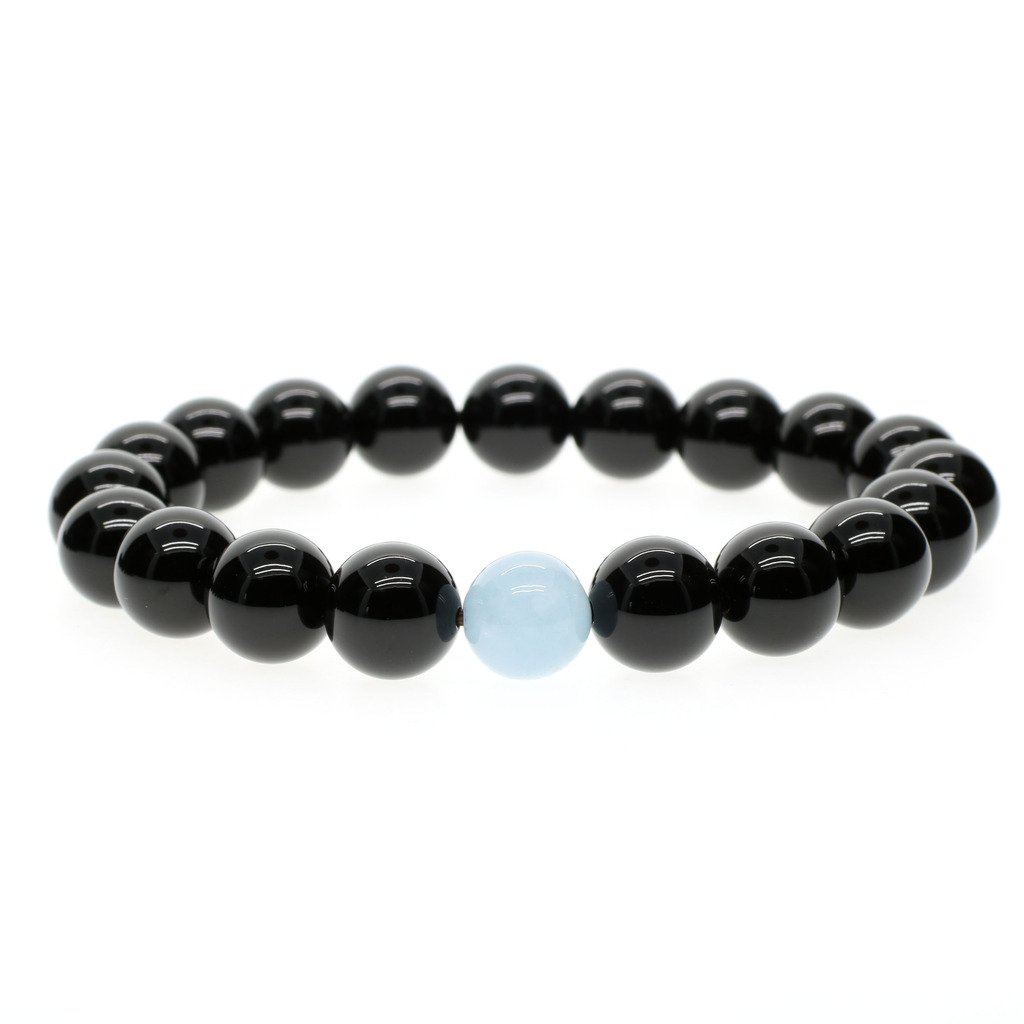 AmorWing 10mm Black Onyx Classy Mens Energy Bracelet,Prayer Bead, Gemstone Mala N135-5