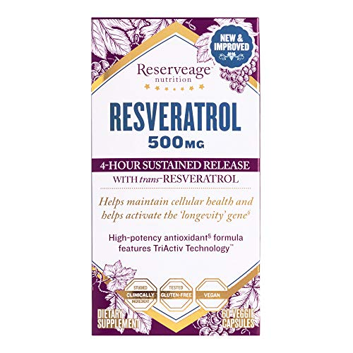 51GoBE2wxrL - Reserveage, Resveratrol 500 mg, Antioxidant Supplement for Heart and Cellular Health, Supports Healthy Aging, Paleo, Keto, 60 capsules (60 servings)