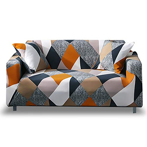 HOTNIU 1-Piece Fit Stretch Sofa Covers - Polyester Spandex Printed Sofa Slipcovers - Furniture Cover/Protector for Loveseat Couch with Elastic Bottom & Anti-Slip Foam (Loveseat, Pattern #MF)