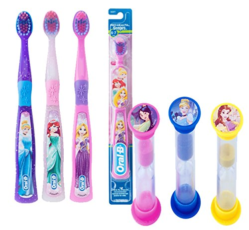 Disney Princess 9pc Bright Smile Oral Hygiene Set! Kids Soft Manual Toothbrush 6 Pack! Plus Bonus Disney Princess Brushing Timers!