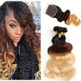3 Tone Ombre Hair Brazilain Body Wave 3 Bundles with Closure Ombre Hair with Closure T1b/4/27 Body Wave Ombre Hair Extensions 100g/pc Full Head (T1b/4/27 20 22 24 + 18)