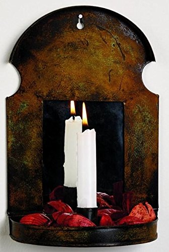 The Market Street Antique Rust Taper Candle Sconce With Mirror by The Market Street