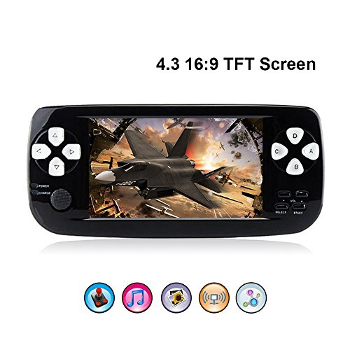 "Handheld Game Console,Rongyuxuan Portable Video Game 4.3"" TFT Screen 4GB PAP Classic Handheld Video Game Console with 653 Games 64 Bit Game Console, Birthday Gift for Children"