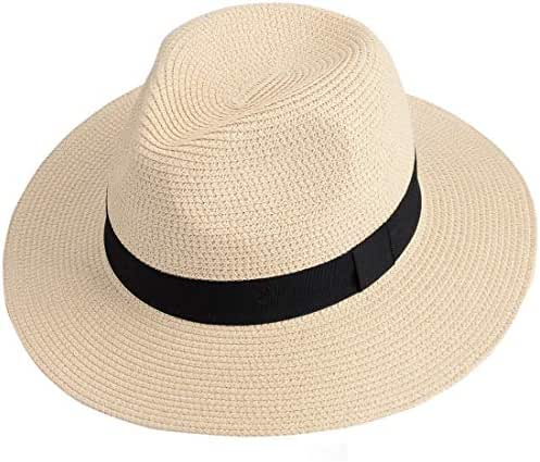 Maylisacc Wide Brim Straw Panama Hat Sun Hats for Women and Men Roll Up Beach-Fedora Summer Travel