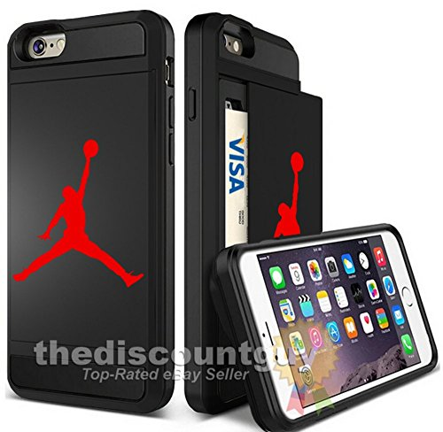 Apple iPhone 6/6S Plus - Dual-Layered Credit Card ID Storage Basketball Case Michael Jordan Store Money Cash Slide Wallet Jumpman Air Protective Cover (Black & Red)