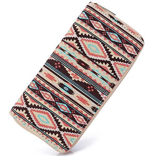 SANSARYA Boho Women Wallet Zip Hippie Long Purse Aztec Tribal Ladies Clutch Wallets Card Holder (BohoStripe)