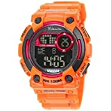 Valentino Rudy Round Face Urethane Band Color Water Resistant Date and Time Digital Watch - No. 7008 (Dial Black, Band Color Orange)