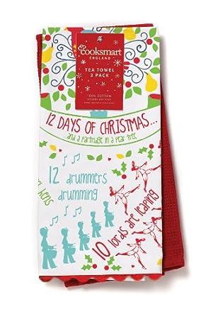 Cooksmart 12 Days of Christmas Tea Towels, Pack of 2: Amazon.co.uk ...