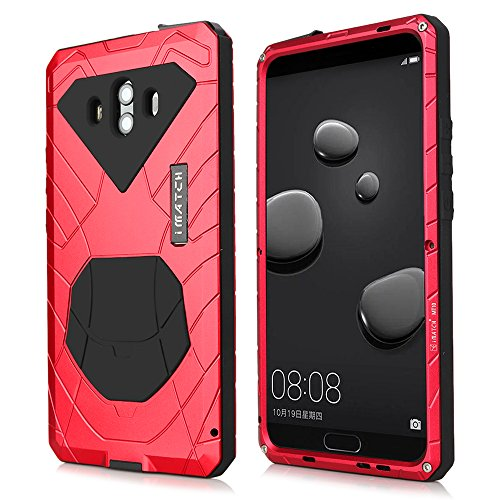 Huawei Mate 10 Case, Cresee Hybrid Armor Aluminum Metal Shockproof Bumper Frame Case Soft Rubber Silicone Military Heavy Duty Hard Case with Kickstand Screen Protector Gift for Huawei Mate 10 -