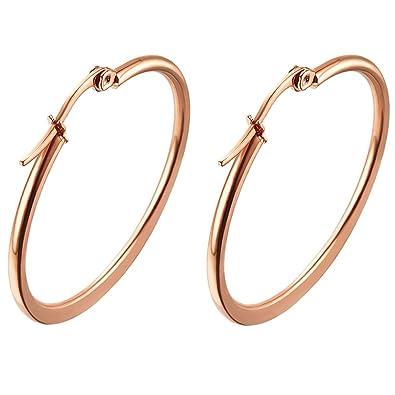Amazon.com: oreolle rosa de 18 K chapado en oro arete de aro ...