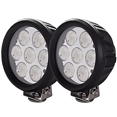 Lightronic 6.5 Inch Round 70W 7000 Lumens 6000K Super Bright 30° Driving Beam LED Off Road Fog & Driving Light (2 Pack): Automotive
