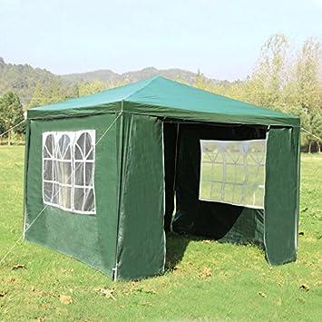 homgrace cenador de jardín 3 x 3 m, Cortina plegable con 3 paredes lateriali, ventanas, ideal para playa, jardín, eventos, acampada, el día, 3 x 3m, verde: Amazon.es: Jardín