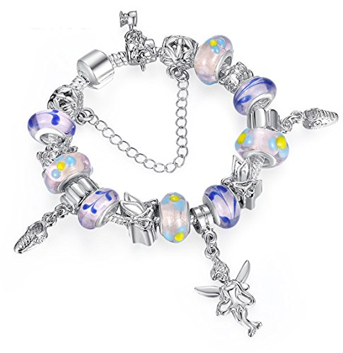 Globby Silver Plated Purple Crystal Glass Bracelet for Women Dragon Buckle Charm Beaded Wrist Chain (Dragon Glass Bracelet)