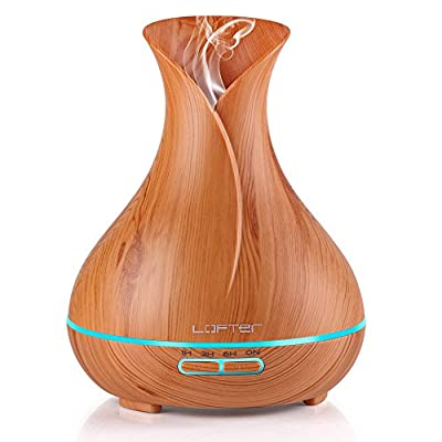 Wood Grain Oil Diffuser, Aromatherapy Humidifier Ultrasonic Cool Mist Essential Defuser - Color LED Lights Changing - Waterless Auto Shut-off for Office Home Bedroom Baby Room Yoga Spa
