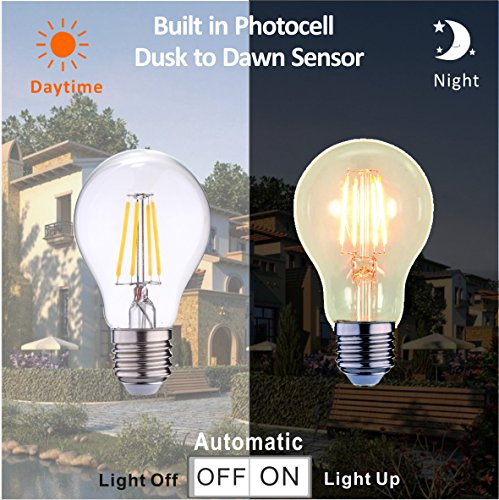 Price comparison product image Photocell sensor Dusk to Dawn Lights Bulb Auto On/Off 40W Incandescent Halogen edison bulb Equivalent,4W, 470lm,Warm white(2700K),AC120,Auto On/Off, sensor Porch light bulb (Pack 1)