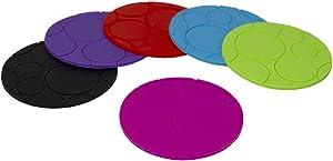 Home Basics Non-Slip Round Silicone Coasters, Multi-Color (1)