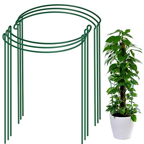 """LEOBRO 6 Pack Plant Support Plant Stakes, Metal Plant Supports for The Garden, Plant Cage, Plant Support Ring, Plant Support Stake for Tomato, Hydrangea, Indoor Leafy Plants, 9.4"""" Wide x 15.6"""" High"""