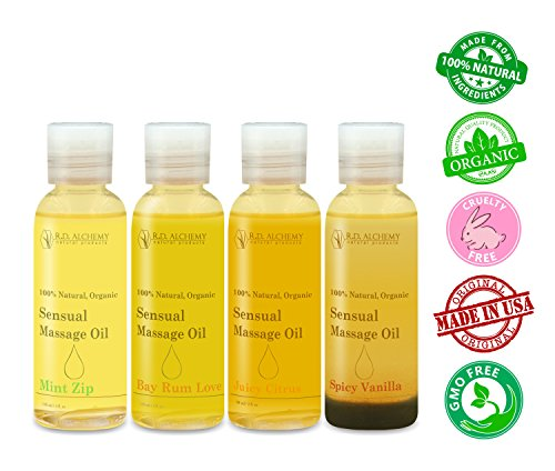 100% Natural & Organic, Edible Massage Oil Sample Pack. Contains all 4 Erotic flavors - Bay Rum Love, Juicy Citrus, Spicy Vanilla, & Mint Zip. Essential oils perfect for couples.